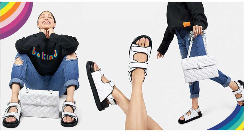 Jessica modelling the white orson sandals
