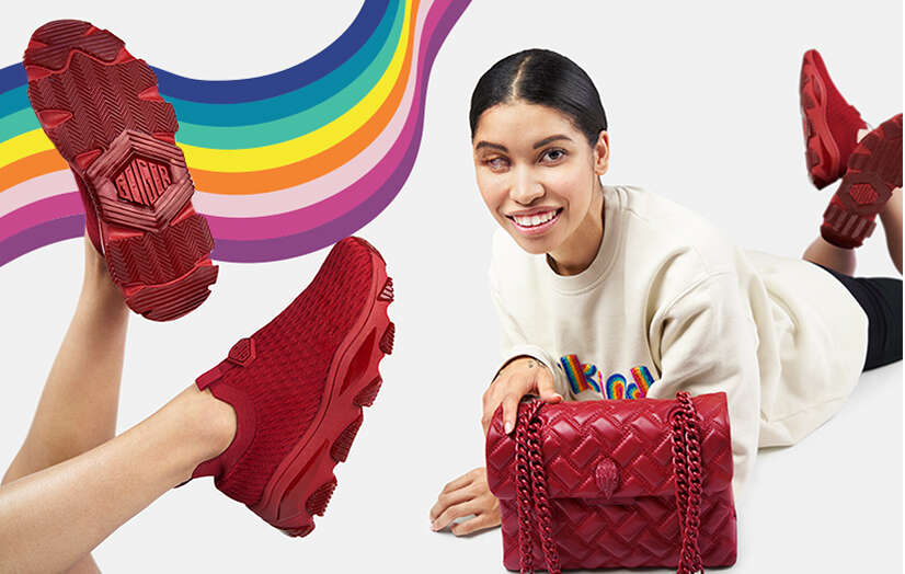 Jessica Modelling red slip on sneakers and red quilted bag