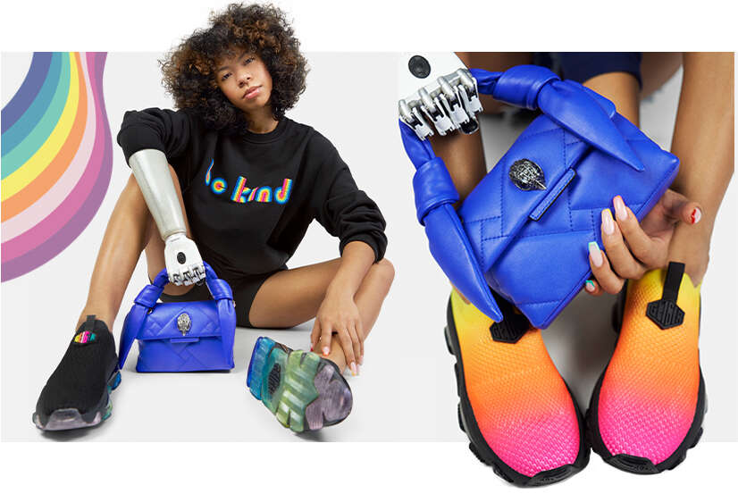Kayla modelling blue bag and rainbow slip on sneakers