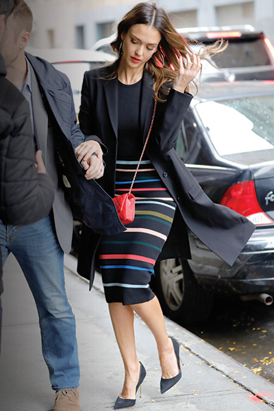 Jessica Alba wears Kurt Geiger London