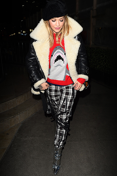 Rita Ora wears Carvela Kurt Geiger