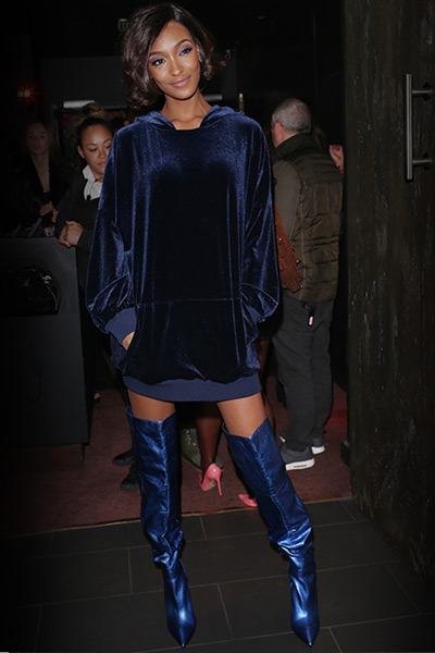 Jourdan Dunn wears Kurt Geiger London 'Vita' at the Missguided SS18 launch party.